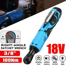 18V Electric Wrench Angle Drill Screwdriver 3/8'' Cordless Ratchet Wrench Scaffolding 100N.m With 1 Lithium-Ion Battery 110-240V