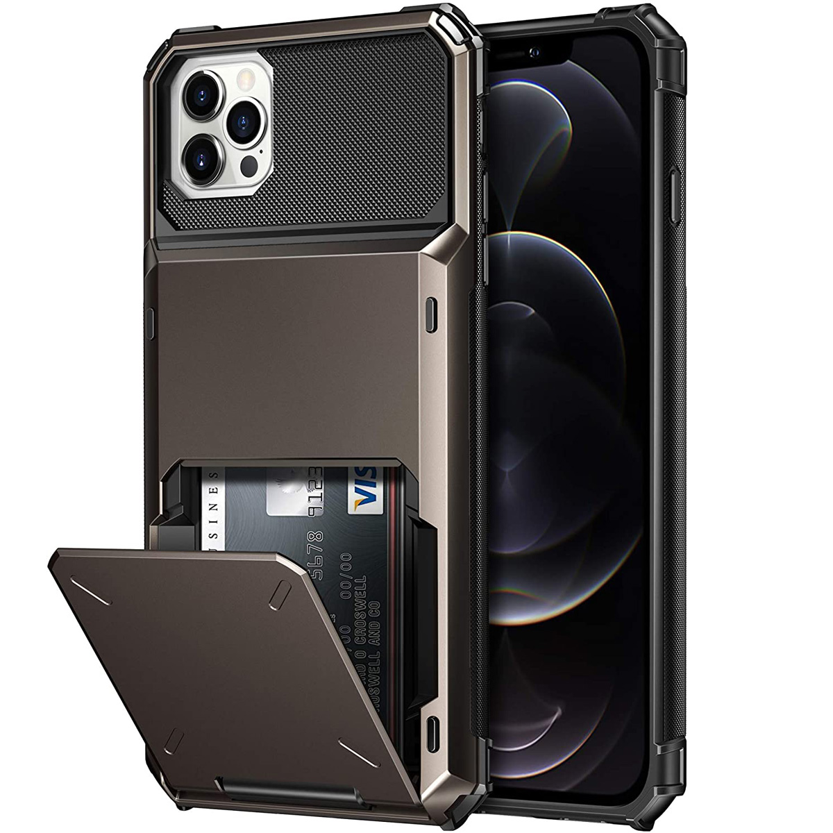 Business Armor Slide Wallet Card Slots Holder Cover for iPhone 12 Mini 12 11 Pro Max 7 8 Plus X XS Max SE 2020 Case Phone Cases