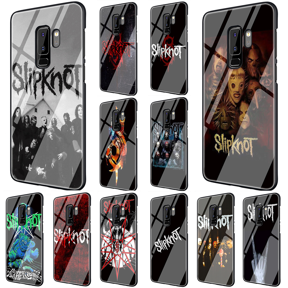 EWAU Slipknot Tempered Glass Phone Cover Case For Samsung Galaxy S7 edge S8 9 10 Plus Note 8 9 10 A10 20 <font><b>30</b></font> <font><b>40</b></font> <font><b>50</b></font> <font><b>60</b></font> <font><b>70</b></font> image