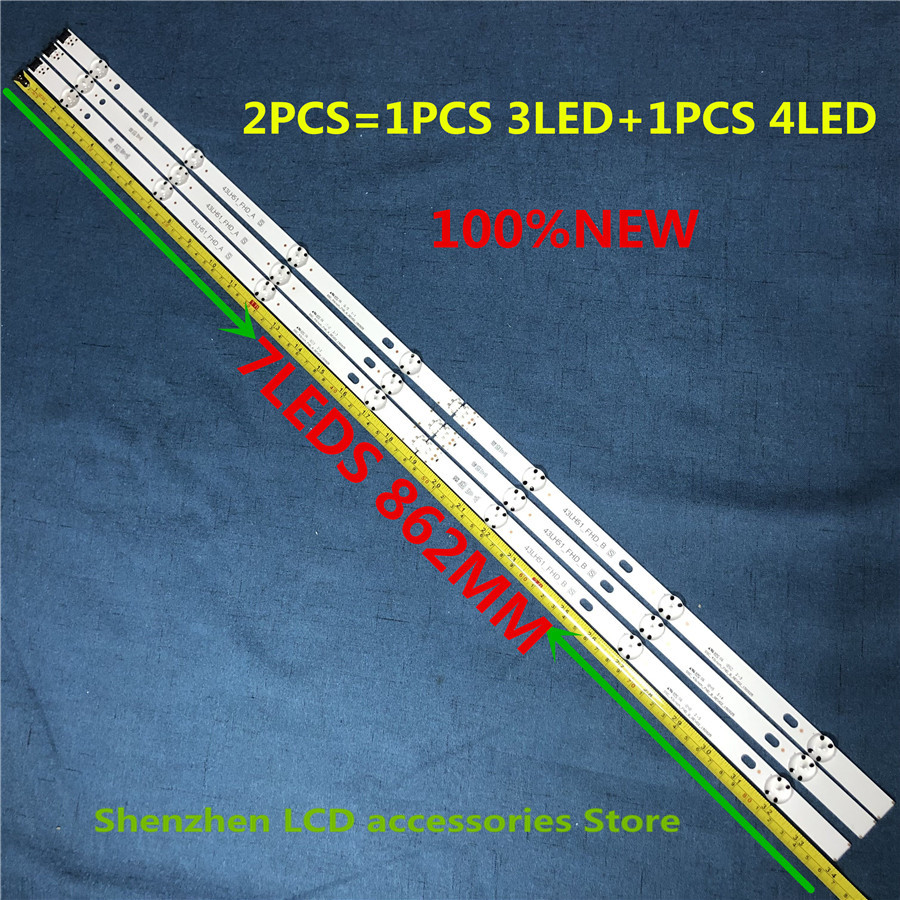6PSC=3PCS 3LED+3PCS 4LED 7leds For LG 43 Inch TV 43LX300C-CA LF51-FHD-A HC430DUE COB 43LH51_FHD A SSC_43inch_FHD 862mm 100%NEW
