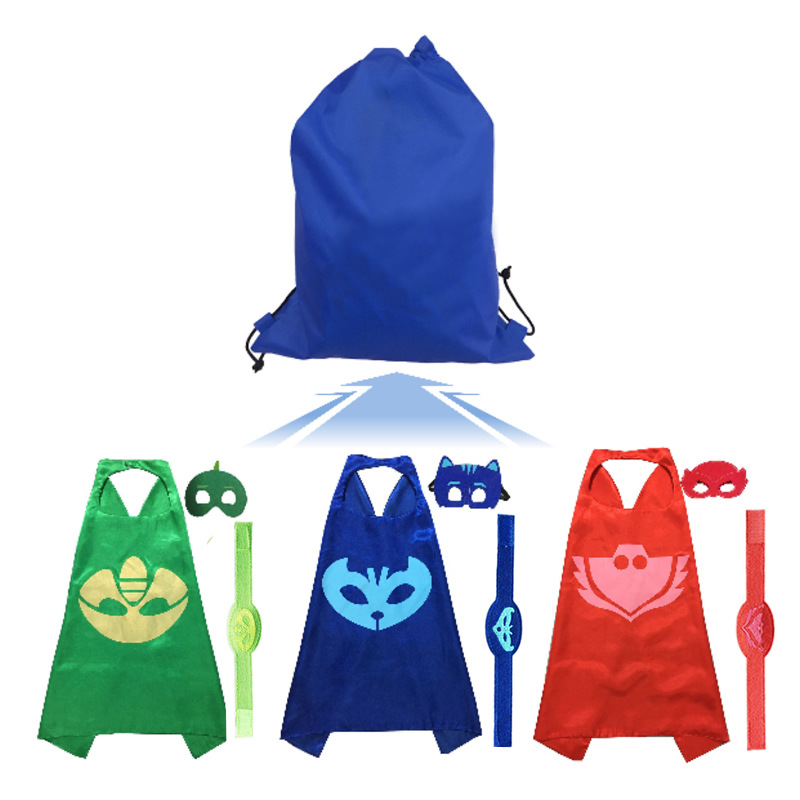 3set PJ MASKS Mask Cloak Bracelet Catboy Owlette Gekko Birthday Party Halloween Christmas Festive Dress Up Send Sports Bag 2B46