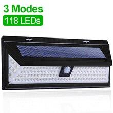 118 LED Solar Light Outdoor Solar Lamp Motion Sensor Solar Powered Spotlight 3 Modes Wall Sunlight For Street Garden Decoration