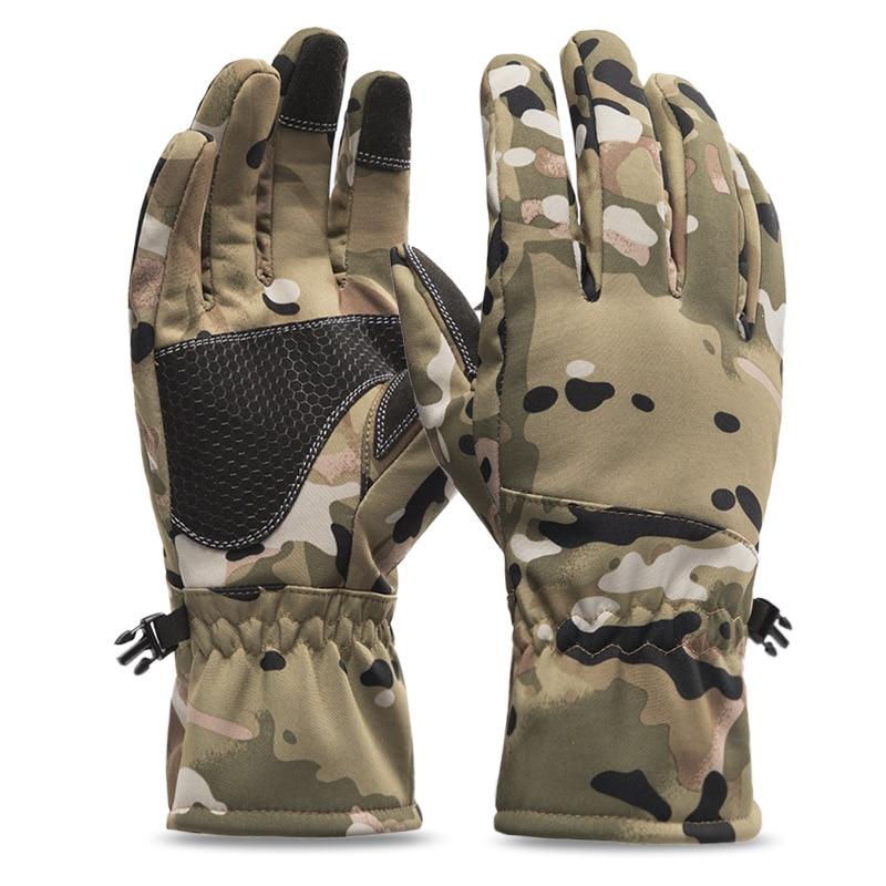 Теплые камуфляжные лыжные перчатки, мотоциклетные водонепроницаемые термоперчатки, мужские зимние перчатки для сноуборда, снегохода, езды по снегу, ветрозащитные перчатки