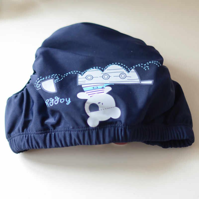 Blue PLAIN สีการ์ตูนหมีเด็กกางเกงผ้าอ้อมเด็กน่ารักทารกเด็ก Leak-Proof ว่ายน้ำหนา Velcro