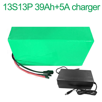With 5A charger 48V 39Ah 13S13P 18650 Li-ion Battery Pack E-Bike Ebike electric bicycle   275x255x70mm