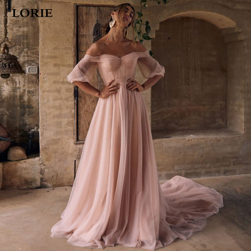 LORIE Pink Bride Dress Puff Sleeve Off The Shoulder Country Wedding dress Sexy Backless Boho Wedding Gown 2021