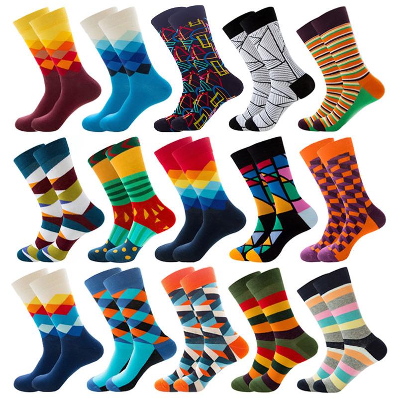Mens Happy Colorful Striped Socks Quality Plaid Diamond Pattern Argyle Geometric Harajuku Combed Cotton Sock Christmas Gift