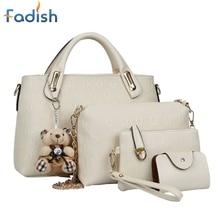 4PCS/Set Women Lady Leather Handbag Shoulder Bags Tote Purse SatchelMessenger JUL31