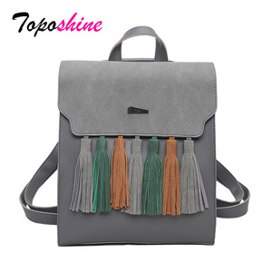 Image 1 - Toposhine Fashion Tassel Hit Color Square Girls Backpack Scrub PU Leather Women Backpack Fashion School Bags 1617