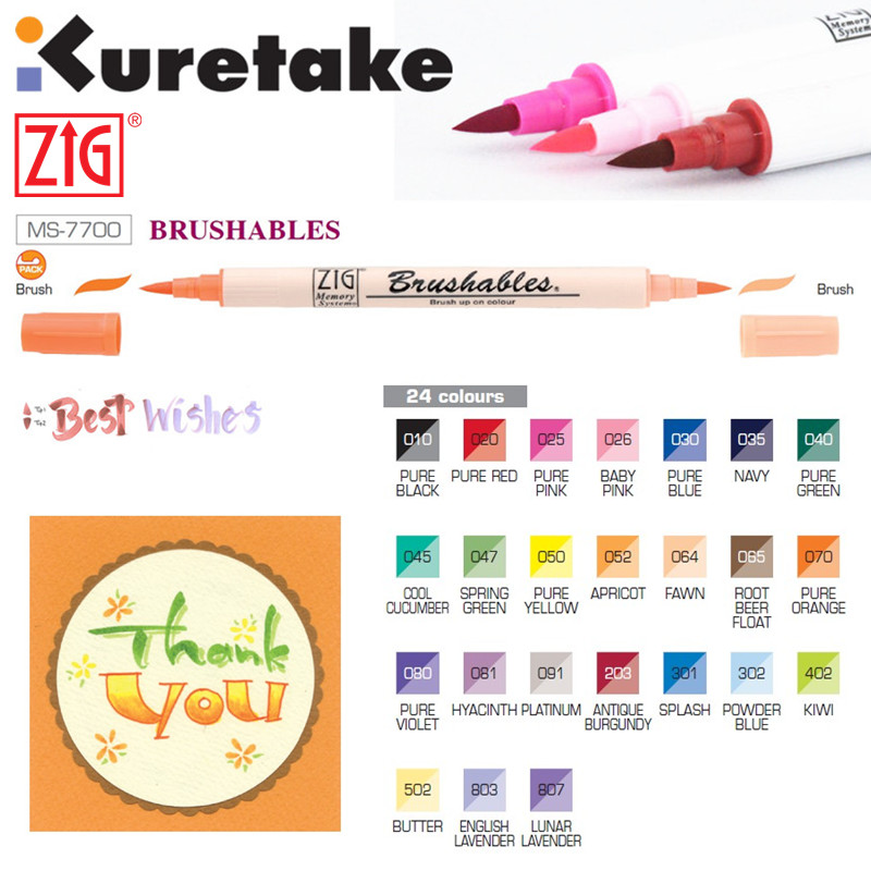 1pc ZIG Kuretake MS-7700 Double Colors Marker Watercolor Brush Pens Waterproof BRUSHABLES Painting Twin Tip Dark & Light Single