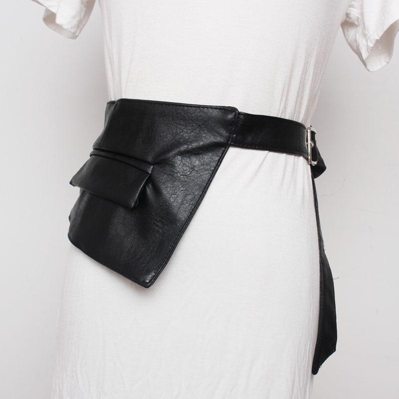 2020 New Design High Fashion Trendy Corset Belts For Women Asymmetric Leather Waistband Female Solid Black Wide Belt Tide ZK979
