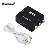 Bundwin Adaptador convertidor de vídeo compuesto HDMI2AV para TV, VHS, VCR, DVD, gran oferta, MINI HDMI a RCA AV/CVBS