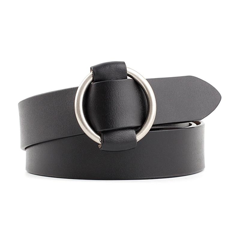 Women Belt adjustable elastic no hole belttwo layer cowhide smooth buckle Adult waistband fashion Alloy Solid color Belt
