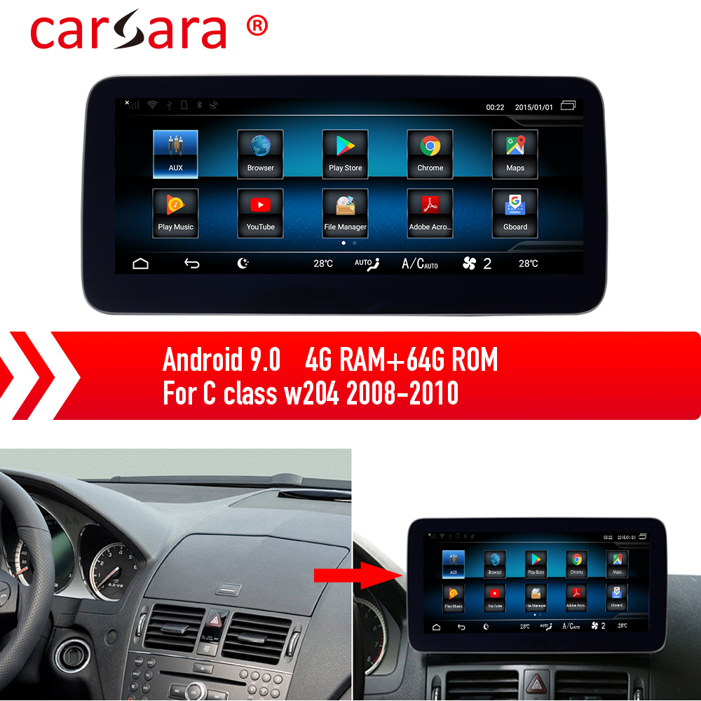Mercedes <font><b>GPS</b></font> Navigation Screen Updating for C Class <font><b>W204</b></font> 08-10 Android 9.0 Multimedia System Upgrading image