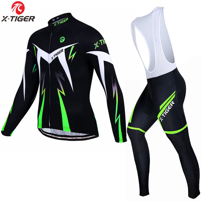X-TIGER Pro Cycling Jersey Set Long Sleeve Mountain Bike Cycling Clothing Breathable MTB Bicycle Clothes Wear Suit For Mans