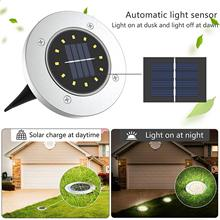 Solar Disk Lights 12 LED Solar Ground Lights Outdoor Waterproof Stainless Steel in Ground Solar Lights for Walkway Pathway Lawn