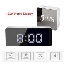 Spiegel LED Digital Wecker 12/24 Stunden Display Snooze Temperatur Display Zeit Speicher Funktion Kann Verwendet Werden Als Nacht licht