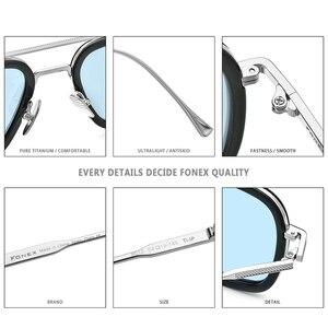 Image 4 - FONEX Pure Titanium Acetate Polarized Sunglass Men Retro Tony Stark Sunglasses New Vintage Edith Sun Glasses for Women 8512