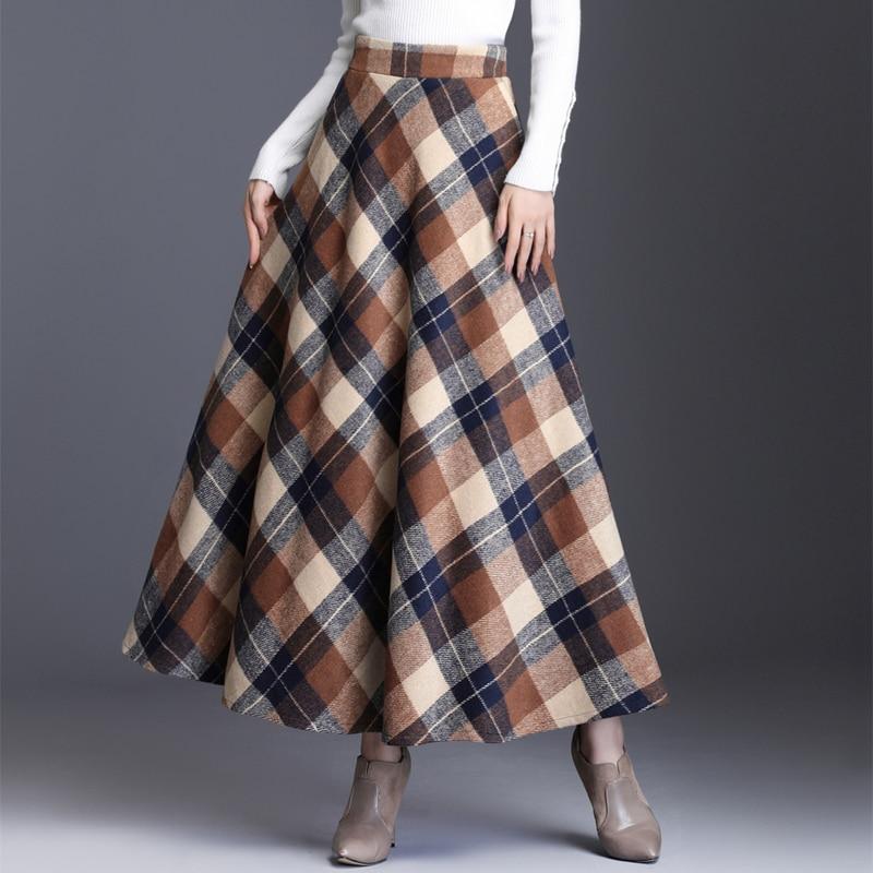HAYBLST брендовая юбка женская 2019 Осень Зима Плюс Размер 3XL элегантный корейский стиль мода плед Высокая талия длинная одежда утолщение