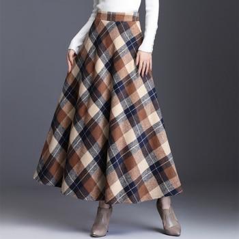 HAYBLST Brand Skirt Womens 2019Autumn Winter Plus Size3XL Elegant Korean Style Fashion Plaid Tall Waist Long Clothing Thickening