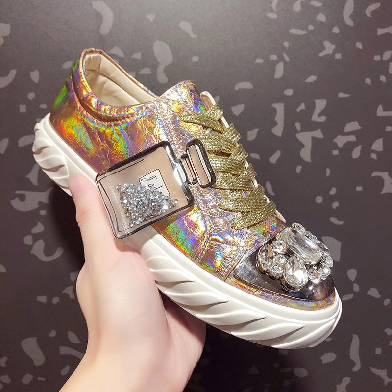 Femmes miroir strass cristal Bling bout rond baskets appartements décontracté décontracté bas Top chaussures à lacets or argent rouge A413
