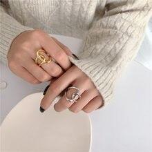 Anillos sencillos de Metal dorado para mujer, sortija Irregular anudada geométrica cruzada, accesorios de joyería 2021, 1 ud.