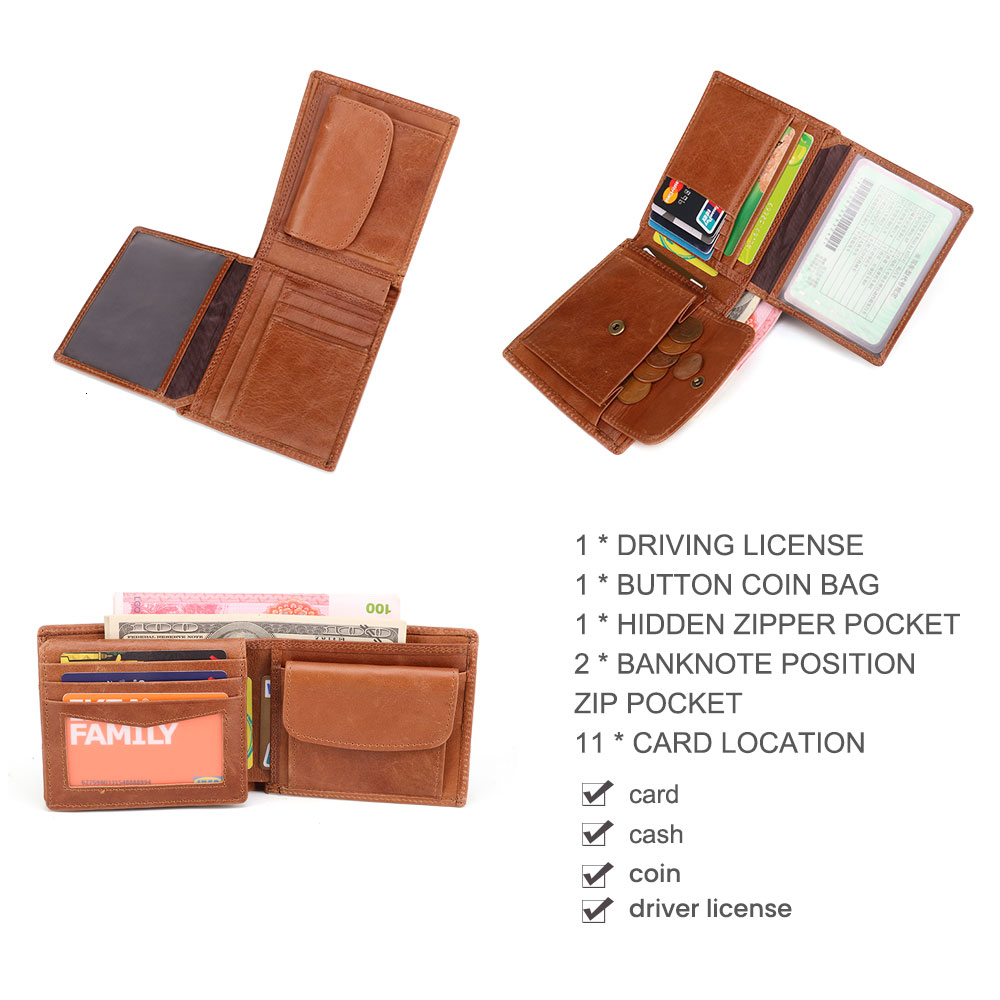 Ha899b4b8c1db405cb39c2a03c7c1a67cn - GENODERN Cow Leather Men Wallets with Coin Pocket Vintage Male Purse Function Brown Genuine Leather Men Wallet with Card Holders