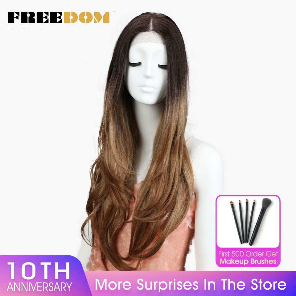 FREEDOM Middle Part High Temperature Fiber Ombre Blond 30' Long Natural Hairline Body Wave Synthetic Lace Front Wig For Women