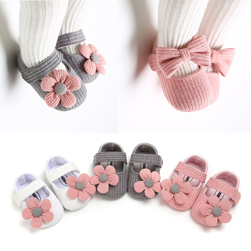 Baby Shoes Spring And Summer Cute Floret Bowknot Infant Shoes Sneaker Princess Girl Baby Soft Sole Shoe Knit Booties Anti-slip A