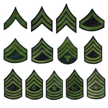 Parche para brazalete de la Armada de los EE. UU., parche para brazalete militar de la banda del Ejército de los EE. UU., plancha sobre insignia del sargento mayor, emblema verde
