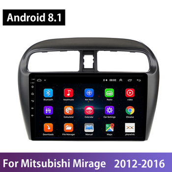 Android 8.1 GPS Multimedia Player 2DIN Car Head Unit Radio Audio For Mitsubishi Mirage 2012 2013-2016 Mirror Link Steering-Wheel image