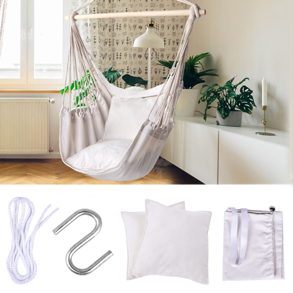 Hammock Chair Hanging Chair Swing With 2 Pillows Outdoor Garden Hammock For Adults Kids Hanging Chair Swing Bed Chair