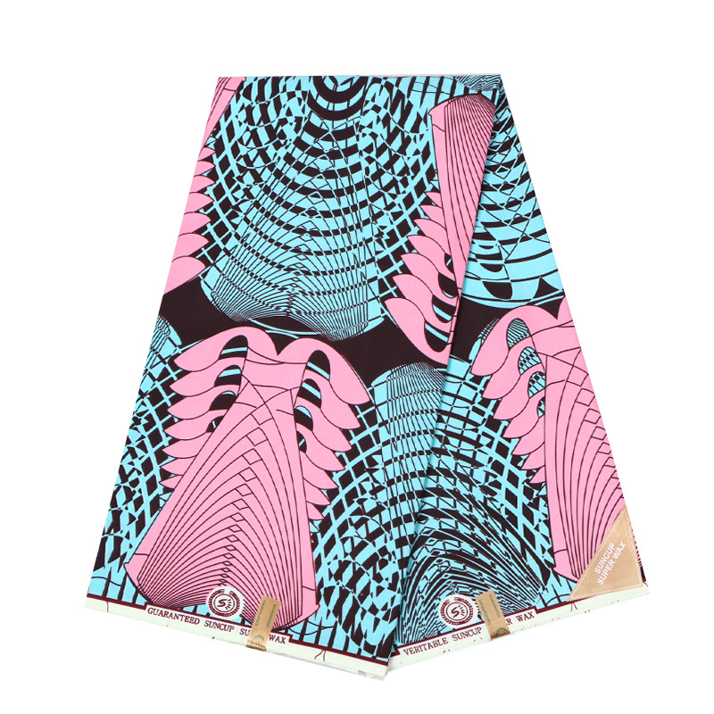 100% Polyester Lady Sweet Pink And Sky-Blue Color Pattern Printed Holland Wax Fabrics