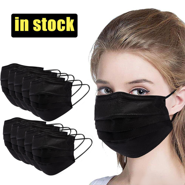 10/20/50/100/200Pcs Black Disposable Masks Mouth Cover Mask Cotton Non Woven 3 Layer Non Woven Face Cover Mask 5