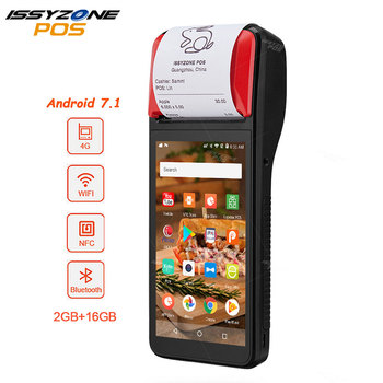 IssyzonePOS Receipt Printer 58mm Touch Screen PDA Android 7.1 Handheld POS terminal PDA WIFI Bluetooth 4G PDA Support OTG