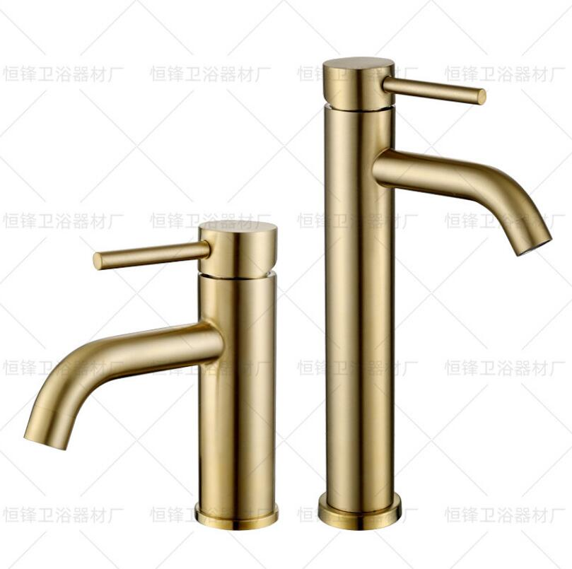 Stainless Steel Bathroom Basin Faucet Cold And Hot Water Mixer Sink Tap Single Handle Deck Mounted Brushed Gold Tap