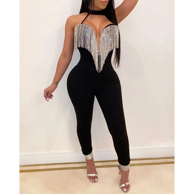 Imcute 2020 New Women Bling Jumpsuit Romper Overalls Sexy Deep V Tassels Tight Playsuit Leg Backless Rompers Female