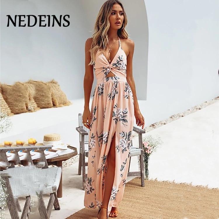 NEDEINS Women Summer Long Dress Bohemian Beach Dress Summer Floral Halter Dress Dresses Woman Party Night