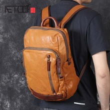 AETOO New casual retro head cowhide shoulder bag handmade leather male and female travel backpack aetoo new original male bag leather shoulder bag retro vegetable tanned leather pure hand rub color backpack