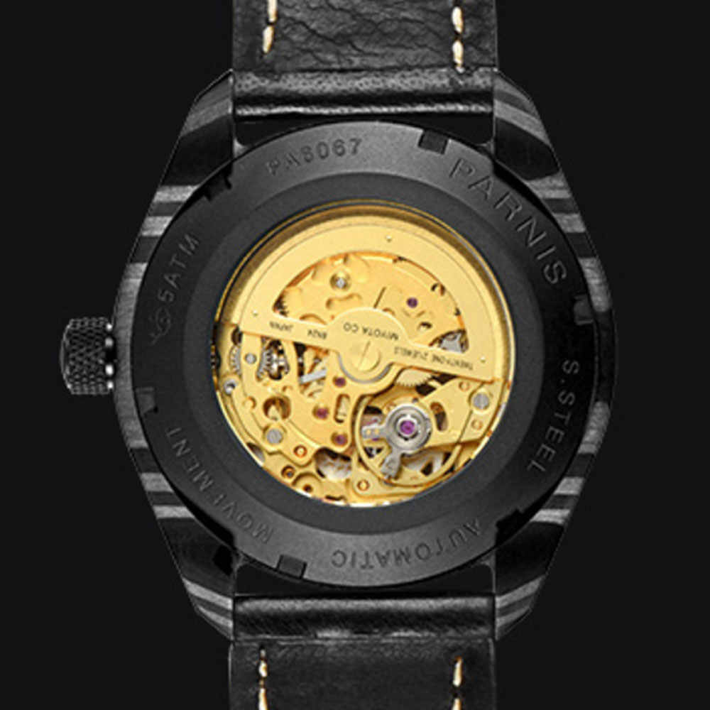 Lüks marka parnis komutanı serisi aydınlık erkek çelik kasa deri kordonlu saat otomatik öz-rüzgar mekanik saat kol saati