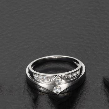 0.05ct/men 0.08ct/women Diamond Ring 18K White Gold Wedding Rings Couple Set Genuine Gold Engagement Ring Wedding Band 2