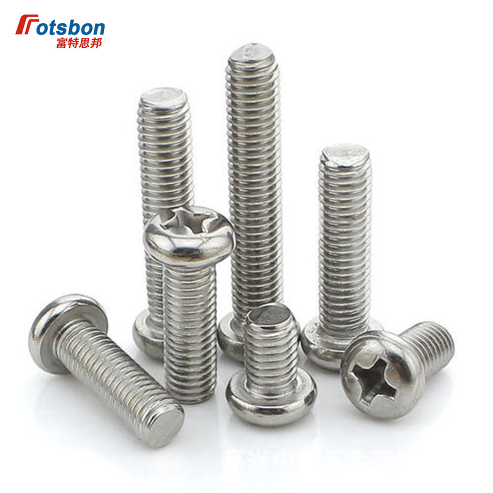 M4 Cross Recessed Raised Counter Pan Head Screw Flat Tail Screws Phillip Plaine Inox Puntas Rvs Vis Inoxydable DIN7985 ISO7045 image