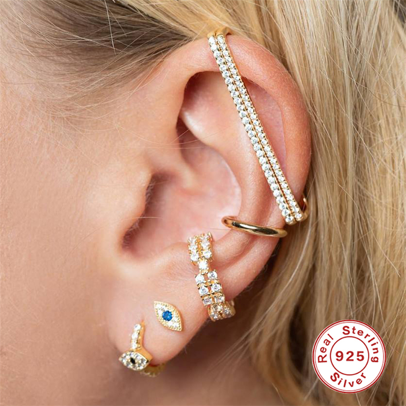 ROXI 100% 925 Sterling Silver Earrings Minimalist Lucky Evil Eye Earring Studs For Women Cartilage Dainty CZ Studs Tiny Jewelry