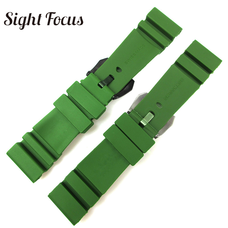 Image 4 - 24mm 26mm Army Green Lighting Watch Band Replacement for Panerai Submersible Radiomir Sport Rubber Strap Bracelets Military Belt-in Watchbands from Watches