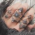 Tocona 8 шт./компл. винтажные антикварные серебряные цветные бриллиантовые кольца для женщин полые геометрические ювелирные изделия аксессуар...