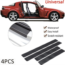 4pcs Car Sticker Door Sill Protector Car Styling Carbon Fiber Door Plate Scuff Protection Accessories Door Step Scratch Cover