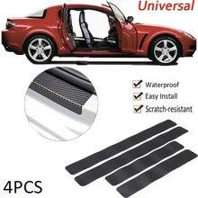 4 stücke Auto Aufkleber Tür Sill Schutz Auto Styling Carbon Faser Tür Platte Scuff Schutz Zubehör Tür Schritt Scratch Abdeckung