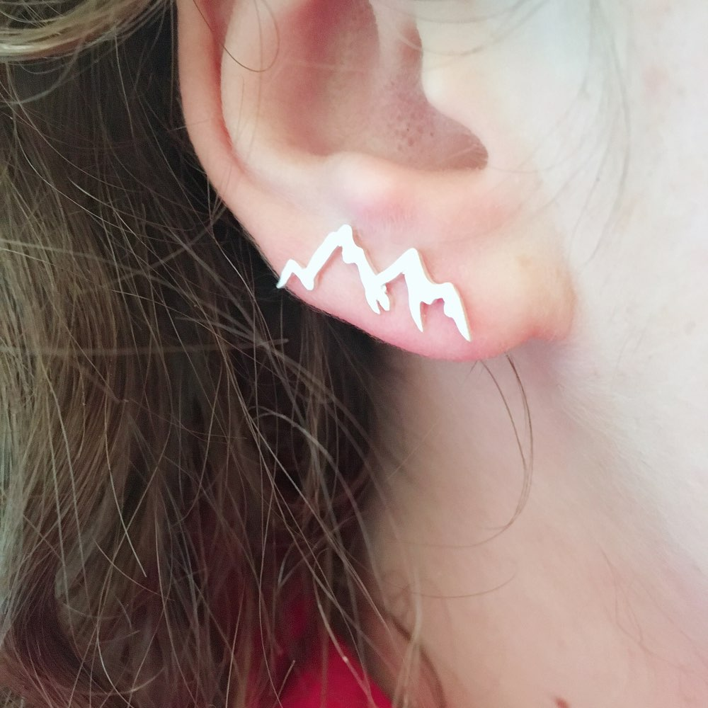 SMJEL Minimalist Mountain Stud Earrings for Women Nature Landscape Mountain Ear Climber Earrings Geography Jewelrys Hiker Gifts