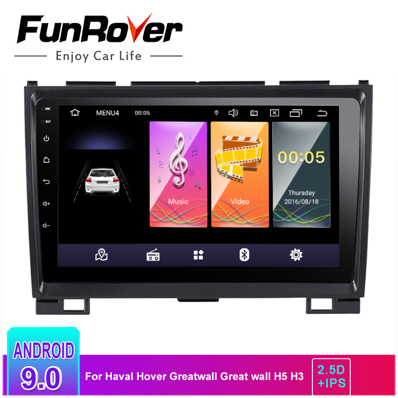 Funrover 2.5D+IPS Android 9.0 Car Radio Multimedia Player For Haval Hover Greatwall Great Wall H5 H3 Car Dvd Gps Navigation RDS