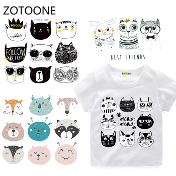 ZOTOONE Cartoon Animal Set Patches Washable Iron-on Transfers for T-Shirt Children Gift DIY Clothes Stickers Cat Heat Transfer I dark animal wolf iron on heat transfer printing patches stickers for clothes t shirt diy appliques washable patches wholesale